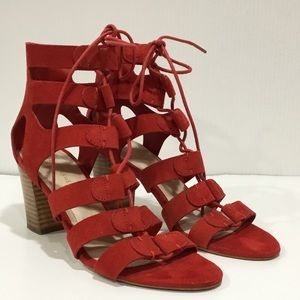 Marc Fisher Red Suede Strap Heels Size 7-1/2